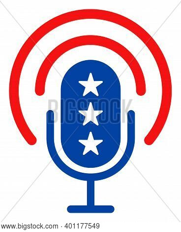 Podcast Microphone Icon In Blue And Red Colors With Stars. Podcast Microphone Illustration Style Use