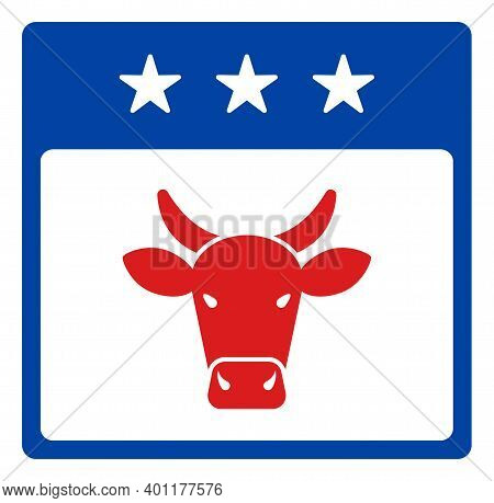 Bull Calendar Page Icon In Blue And Red Colors With Stars. Bull Calendar Page Illustration Style Use
