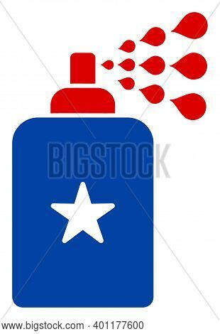 Disinfectant Spray Icon In Blue And Red Colors With Stars. Disinfectant Spray Illustration Style Use