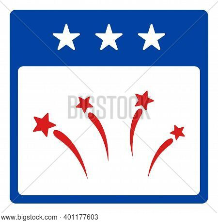 Celebration Calendar Day Icon In Blue And Red Colors With Stars. Celebration Calendar Day Illustrati