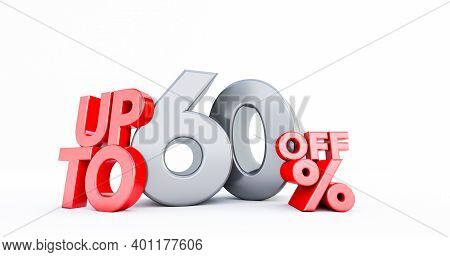 Red 60% Number Isolated On White Background . 60 Sixty Percent Sale. Black Friday Idea. Up To 60%. 3