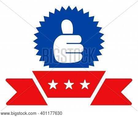 Ribbon Award Icon In Blue And Red Colors With Stars. Ribbon Award Illustration Style Uses American O
