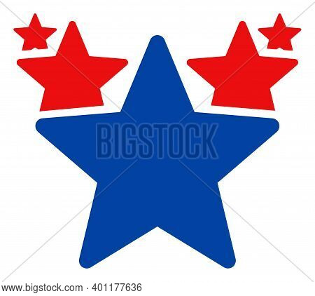 Hit Parade Icon In Blue And Red Colors With Stars. Hit Parade Illustration Style Uses American Offic