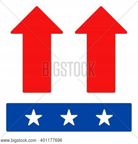 Move Up Icon In Blue And Red Colors With Stars. Move Up Illustration Style Uses American Official Co