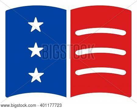 Menu Icon In Blue And Red Colors With Stars. Menu Illustration Style Uses American Official Colors O