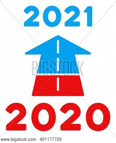 2021 Future Road Icon In Blue And Red Colors With Stars. 2021 Future Road Illustration Style Uses Am