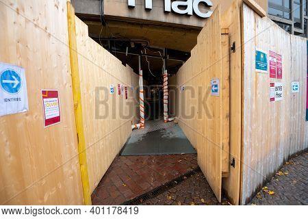 Strasbourg, France - Nov 3, 2020: Entrance To Fnac In Strasbourg Maison Rouge During General Reconst