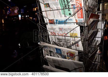 Strasbourg, France - Dec 4, 2020: French Press Multiple Newspaper At French Press Kiosk Announcing T