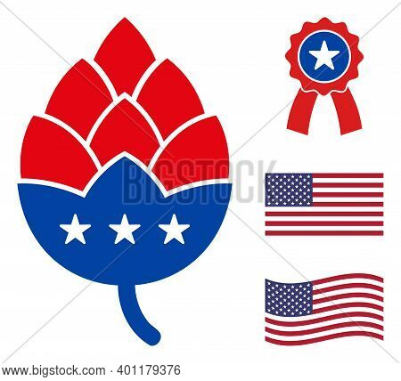Hop Cone Icon In Blue And Red Colors With Stars. Hop Cone Illustration Style Uses American Official