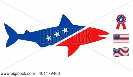 Shark Icon In Blue And Red Colors With Stars. Shark Illustration Style Uses American Official Colors