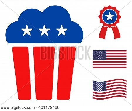Popcorn Icon In Blue And Red Colors With Stars. Popcorn Illustration Style Uses American Official Co