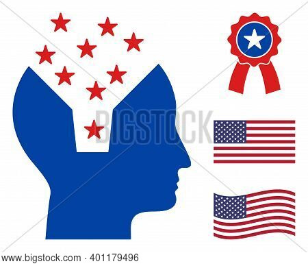 Memory Content Head Icon In Blue And Red Colors With Stars. Memory Content Head Illustration Style U