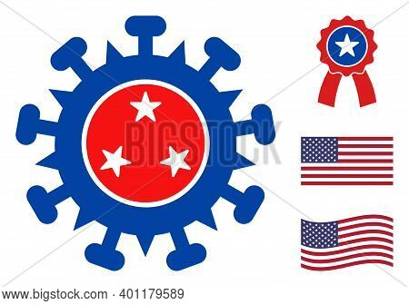 Viral Structure Icon In Blue And Red Colors With Stars. Viral Structure Illustration Style Uses Amer