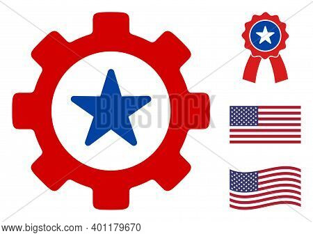 Mechaincs Cog Icon In Blue And Red Colors With Stars. Mechaincs Cog Illustration Style Uses American