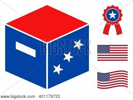 Goods Parcel Icon In Blue And Red Colors With Stars. Goods Parcel Illustration Style Uses American O