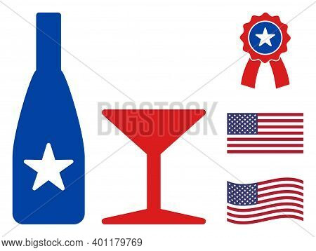 Alcohol Drinks Icon In Blue And Red Colors With Stars. Alcohol Drinks Illustration Style Uses Americ