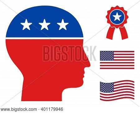 Man Head Icon In Blue And Red Colors With Stars. Man Head Illustration Style Uses American Official