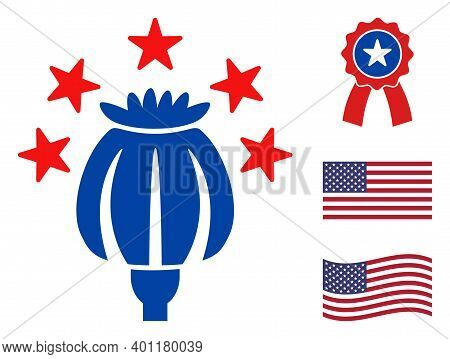 Heroine Poppy Icon In Blue And Red Colors With Stars. Heroine Poppy Illustration Style Uses American