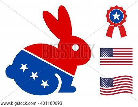 Rabbit Icon In Blue And Red Colors With Stars. Rabbit Illustration Style Uses American Official Colo