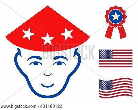 Chinese Peasant Head Icon In Blue And Red Colors With Stars. Chinese Peasant Head Illustration Style