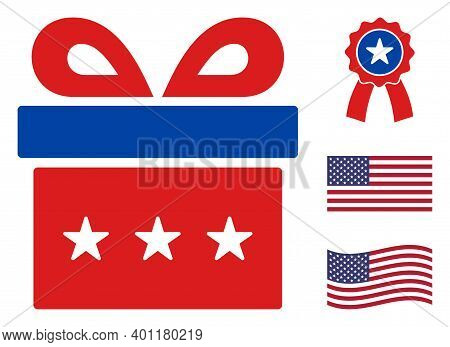 Present Icon In Blue And Red Colors With Stars. Present Illustration Style Uses American Official Co