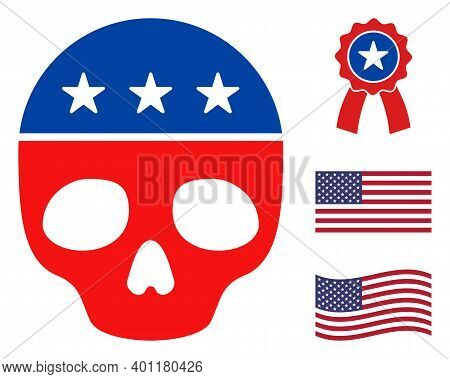 Dead Skull Icon In Blue And Red Colors With Stars. Dead Skull Illustration Style Uses American Offic