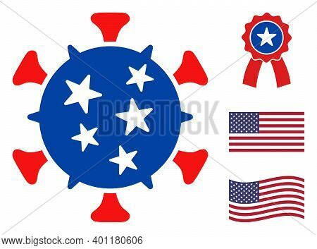Virus Icon In Blue And Red Colors With Stars. Virus Illustration Style Uses American Official Colors
