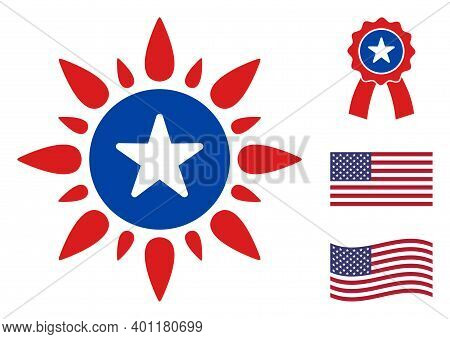 Sunshine Icon In Blue And Red Colors With Stars. Sunshine Illustration Style Uses American Official
