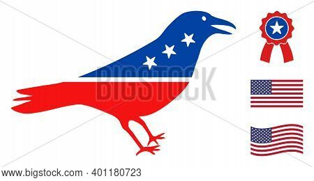 Crow Bird Icon In Blue And Red Colors With Stars. Crow Bird Illustration Style Uses American Officia