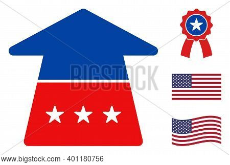 Ahead Arrow Icon In Blue And Red Colors With Stars. Ahead Arrow Illustration Style Uses American Off