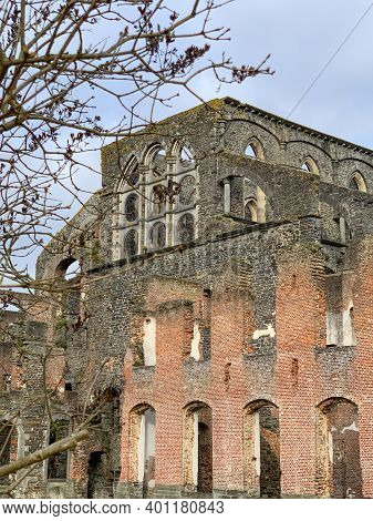 Villers Abbey Ruins, An Ancient Cistercian Abbey Located Near The Town Of Villers-la-ville In The Br