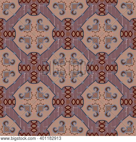 Textured Ethnic Seamless Pattern. Vector Ornamental Grunge Background. Repeat Tribal Backdrop. Abstr