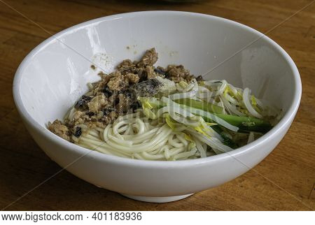 The Close Up Of Taiwan Homemade Minced Pork With Mushroom Sauce Noodles,  Taiwanese Traditional Dry
