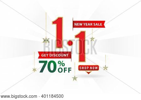 1.1 Sale, 1.1 Online Sale, New Year Sale, Shopping Day Festival Number Date Red With Ribbon Isolated