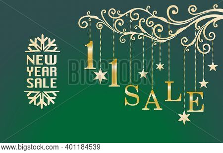 1.1 Sale, 1.1 Online Sale, New Year Sale Banner Ornament Model And Number Gold With Green Background
