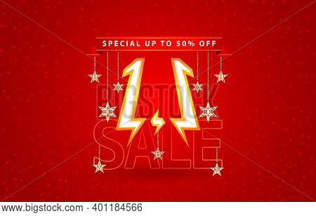 1.1 Sale, 1.1 Online Sale, Flash Model Shopping Day Festival Number Date Red With Red Background And