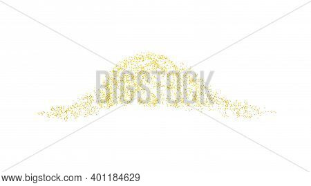 Horizontal Wave Decor Sprinkled With Crumbs Golden Texture. Background Gold Dust On A White Backgrou