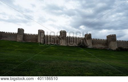 Panoramic View Of Historical Medieval Fortress City Town Stone Wall In Avila Castile And Leon In Spa
