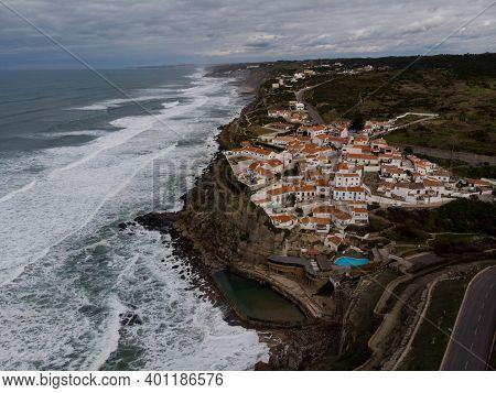 Aerial Panoramic View Of Seaside Town Azenhas Do Mar At Cliff Coast Beach Atlantic Ocean In Sintra C