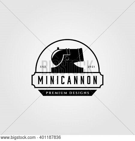 Mini Cannon Artillery Vintage Logo Vector Illustration Design