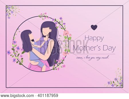 Card For The International Mother S Day. Vector Illustration With Text, Flowers And Greetings. A Wom