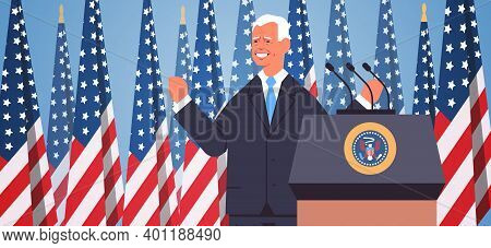 Usa Inauguration Day Concept Male President Democrat Winner Of United States Presidential Election M