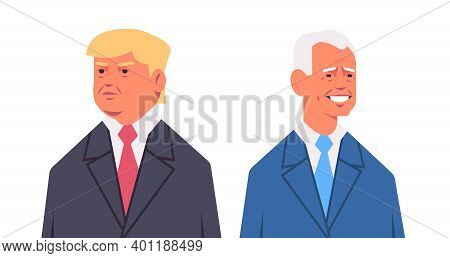 Unhappy American Republican And Happy Newly Elected Democratic President United States Presidential