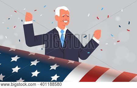 Happy Male President Democrat Winner Of United States Presidential Election Usa Inauguration Day Con