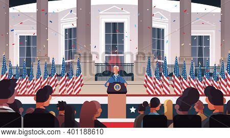 President Democrat Winner Of United States Presidential Election Man Giving Speech From Tribune Usa