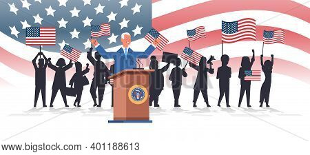 President Democrat Winner Of United States Presidential Election Man Diving Speech From Tribune Usa