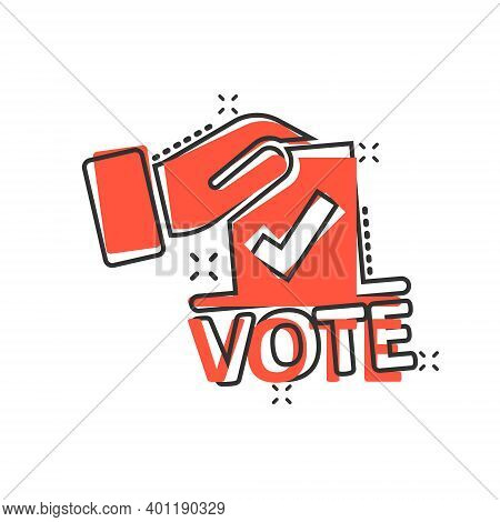 Vote Icon In Comic Style. Ballot Box Cartoon Vector Illustration On White Isolated Background. Elect