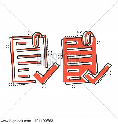 Approved Document Icon In Comic Style. Authorize Cartoon Vector Illustration On White Isolated Backg
