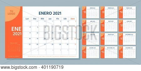 2021 Spanish Planner. Calendar Template. Week Starts Monday. Vector. Calender Layout With 12 Month.