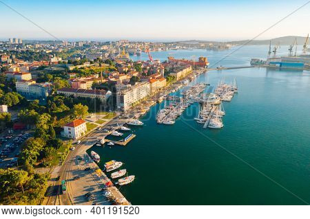 Aerial drone photo of famous european city of Pula. Location place Istria county, Croatia, Europe. Popular touristic place. Aerial photography, drone shot. Discover the beauty of earth.